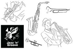 Jazz Groove Sketch, Line Art and Elements. For many purpose such as music shop logo, jazz club banner, CD Cover, concert poster etc. EPS 10 with high resolution Vector Illustration