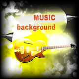 Jazz guitar with lightening and sparks Royalty Free Stock Images