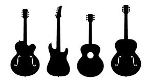 Jazz Guitar Silhouettes. Vector Illustration Of Four No Name, No Brand, Imaginary Jazz Guitar Silhouettes Stock Photos