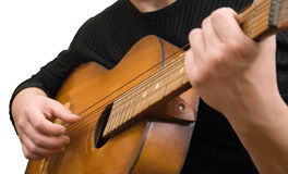 Jazz guitar strings hand. Art music jazz guitar strings hand Royalty Free Stock Photography