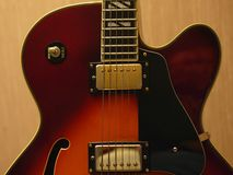 Jazz Guitar. This is a vintage archtop guitar in soft light Stock Photo
