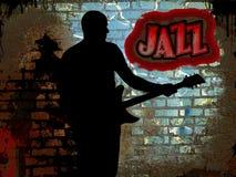 Jazz guitarist. On grunge background Royalty Free Stock Images