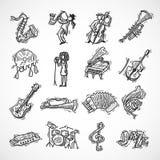 Jazz Icons Sketch Stock Photos