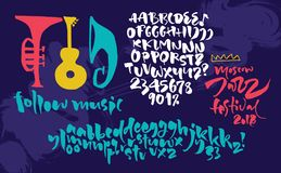 Jazz improvisation festival poster. Expressive calligraphic script. With alternative characters Royalty Free Stock Photography