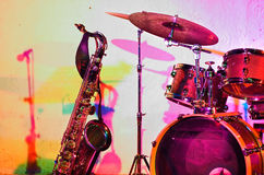 Jazz instruments. Before the jam session - colorful lighting - color version Royalty Free Stock Image