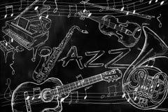 Jazz instruments music background. On dark blackboard Stock Photos