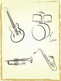 Jazz instruments set  Stock Photos