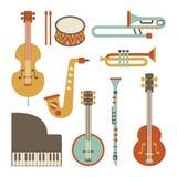 Jazz instruments. Set. isolated on white Royalty Free Stock Photos