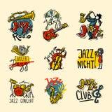 Jazz Labels Set vector illustratie