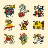 Jazz Labels Set Royalty Free Stock Photos