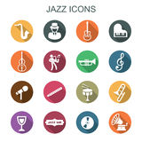 Jazz long shadow icons Stock Photography