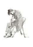 Jazz man. Hand drawing picture - jazz man with the trumpet Royalty Free Stock Photo