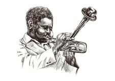 Jazz man. Hand drawing picture - jazz man with the trumpet Stock Photography