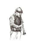 Jazz man. Hand drawing picture - jazz man with the clarinet Royalty Free Stock Photo