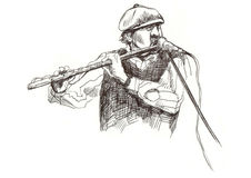 Jazz man. Hand drawing picture - jazz man with the flute Royalty Free Stock Images