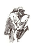 Jazz man. Hand drawing picture - jazz man with the saxophone Stock Photography