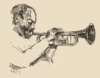 JAZZ Man Playing die Trompeten-Hand gezeichnet, Skizze Lizenzfreie Stockfotografie