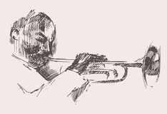 JAZZ Man Playing la tromba disegnata a mano, schizzo Immagini Stock