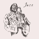 JAZZ Man Playing le saxophone tiré par la main, croquis Image libre de droits