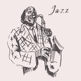 JAZZ Man Playing a mão tirada, esboço do saxofone Imagem de Stock Royalty Free
