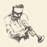 JAZZ Man Playing a mão tirada, esboço da trombeta Fotos de Stock Royalty Free
