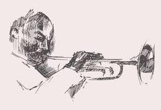 JAZZ Man Playing a mão tirada, esboço da trombeta Imagens de Stock