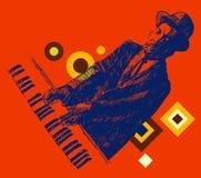 JAZZ Man Playing a mão tirada, esboço do piano Fotos de Stock