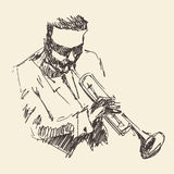 JAZZ Man Playing the Trumpet  Hand Drawn, Sketch Royalty Free Stock Photos