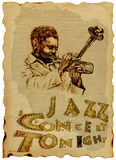 Jazz Man with the trumpet stock illustration