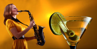 Jazz and martini. Focus on a foreground Stock Image