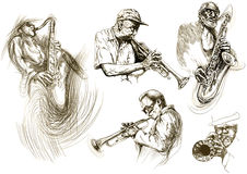 Jazz men. (hand drawing collection of sketches Stock Photos