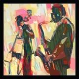 Jazz met saxofoon en dubbel-baarzen royalty-vrije illustratie