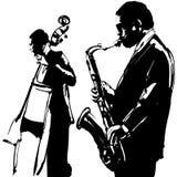 Jazz met saxofoon en dubbel-baarzen stock illustratie