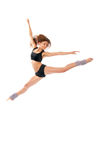 Jazz modern style woman ballet dancer jumping. New slim jazz modern contemporary style woman ballet dancer jumping isolated on a white studio background royalty free stock photos
