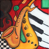 Jazz music. Original painting illustration of musical instruments Stock Photos