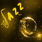 Jazz Music background. With header, silhouette of  saxophone, notes and stylised girl face - abstract illustration Stock Photos
