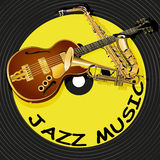 Jazz music on the background of a vinyl record Stock Images