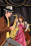 Jazz music band. A vector illustration of a jazz music band playing in a night club stock illustration