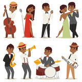 Jazz music band flat group cartoon musician people playing on instruments blues vector illustration. vector illustration