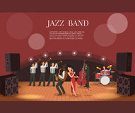 Jazz music band flat vector illustration with musicians on stage. Coming to concert Stock Photo