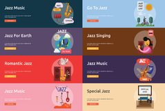 Jazz Music Banner Design stock illustration