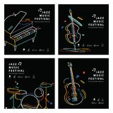 Jazz music banner poster square 4 musical instrument. Illustration vector. Music concept Stock Image