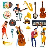 Jazz Music Cartoon Set Photos stock
