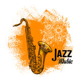 Jazz music. Classical saxophone with musical notes. Vector illustration Stock Image