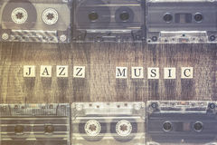 Jazz Music concept. With audio cassettes Royalty Free Stock Image