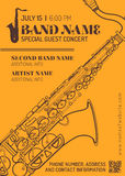 Jazz music concert saxophone horizontal music flyer template Royalty Free Stock Photography