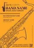 Jazz music concert saxophone horizontal music flyer template. Vector orange brown jazz music concert sax music flyer template minimal design Royalty Free Stock Photography