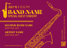 Jazz music concert saxophone vertical music flyer template Royalty Free Stock Image