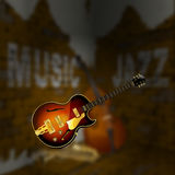 Jazz music corner brick wall blurred background Royalty Free Stock Photo