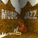 Jazz music corner brick wall Stock Images